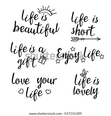 Lettering Life Quotes Calligraphy Inspirational Quote Stockvector