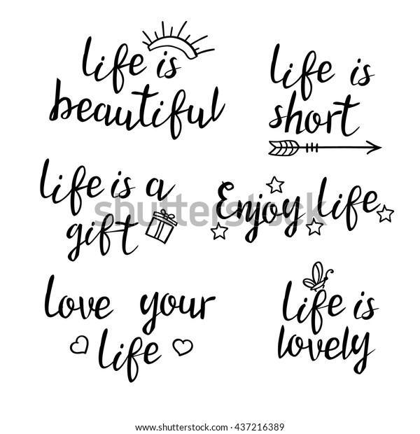 Lettering Life Quotes Calligraphy Inspirational Quote Stock ...