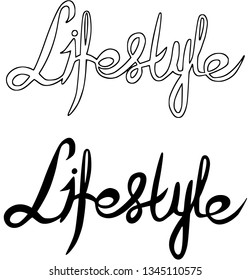 """Lettering """"Lifestyle"""". Digital stamp. Coloring. Vector."""