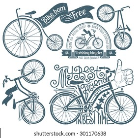 Lettering in logo with a bicycle. Bikes in vintage style with grunge texture, which grouped separately and is easily removed.