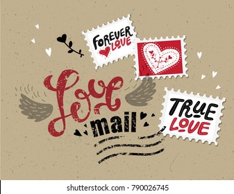 Lettering Love mail in the form of postage stamp postage stamps with phrases about love: True love, Love forever. For design on Valentine's Day or wedding printing.