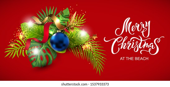 Lettering Merry Christmas at the beach with exotic tropical leaves, festive balls, golden confetti. Great for greeting card, Happy New Year party in Hawaiin style, flyer, web. Place for text. Vector.