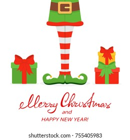 Lettering Merry Christmas and Happy New Year with elf legs in green shoes and gifts isolated on white background, illustration.