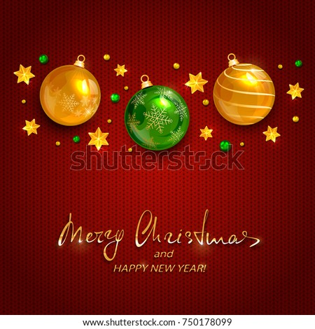 lettering merry christmas and happy new year with holiday decorations golden stars and balls on