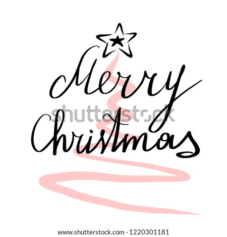 Lettering Merry Christmas Vector Illustration Clipart Stock Vector