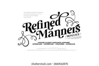 Lettering Minimal Fashion Designs. Vintage and classic alphabet, elegance typography. Uppercase, lowercase, alternate, ligatures fonts. Vector illustration of font.  - Shutterstock ID 1860562870