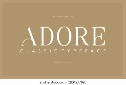 Lettering Minimalist Fashion. Elegant alphabet letters serif font and number. Typography fonts regular uppercase, lowercase.
