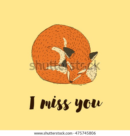 Lettering Miss You Cute Baby Card Stock Vector Royalty Free