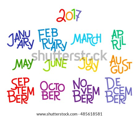 Lettering Months Year December January February Stock Vector