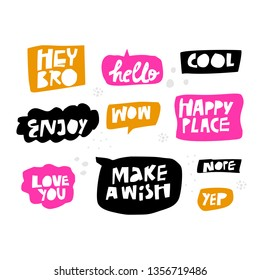 Lettering in multicolor speech bubbles set. Cartoon slang words. Messages flat hand drawn illustrations pack. Handwritten text in black, orange, pink frames. Cool, Wow, Enjoy, Hello, Love you phrases