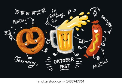 Lettering Oktoberfest- german beer festival in Munich. Poster cartoon design. Kawaii characters Friends beer, pretzel, sausage dance. Fanny Template flat vector illustration for menu, card, print.