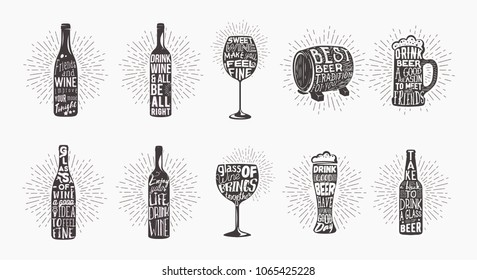 Lettering on beer bottle and glass of whine, wooden keg or barrel. Shining behind alcohol containers, font on beverage mug, type on glassware cup of booze. Drink and alcohol, brewery theme