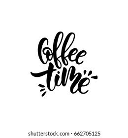 Lettering on the theme of coffee is hand-written. The phrase coffee time isolated on white background. Coffee lettering vector sign