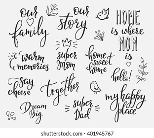 Lettering photography overlay set. Motivational quote. Sweet cute inspiration typography. Calligraphy photo graphic design element. Hand written sign. Love story wedding family album decoration.