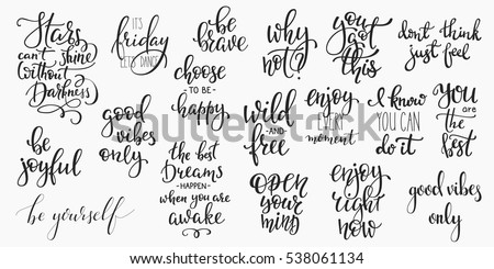 Lettering Photography Overlay Set Motivational Quote Stock Vector