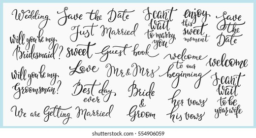 Lettering photography overlay set. Wedding quotes.