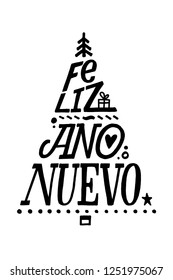 "Lettering poster ""Feliz Ano Nuevo"" (""Happy New Year"", spanish). Christmas Tree Shape"