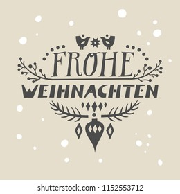 "Lettering poster ""Frohe Weihnachten"" (""Merry Christmas"", german) in scandinavian style."