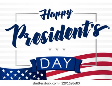 Lettering Presidents day greeting card, striped background and flag USA. Happy President`s Day 18th february for web banner or special offer vector illustration