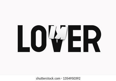 Lettering for printing on clothes, t-shirt, jacket, banner, postcard, etc. LONER to LOVER