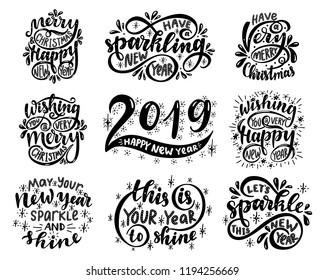 Lettering set. 2019. Merry christmas & happy new year. Wishing you a very merry christmas. Wishing you a very happy new year.