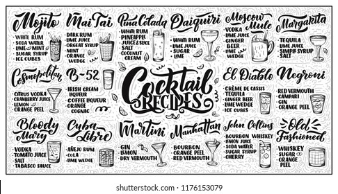 Lettering set of cocktails recipes. Template for card banner and poster for bar menu and restaurant. Vector illustration
