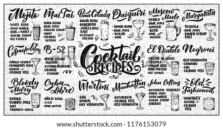 Lettering Set Cocktails Recipes Template Card Stock Vector