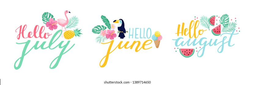 Lettering set Hello June, July, August. hand drawn calligraphy and doodles. Lettering logo badges, isolated. Typography design elements