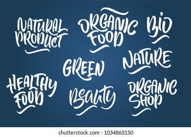 Lettering set for natural products. Handwritten logo fresh, Nature, organic food, natural cosmetics, farm food, Nature, Healthy food. Vector text