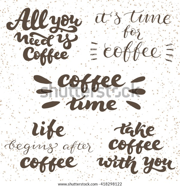 lettering set quotes coffee shop vector stock vector royalty