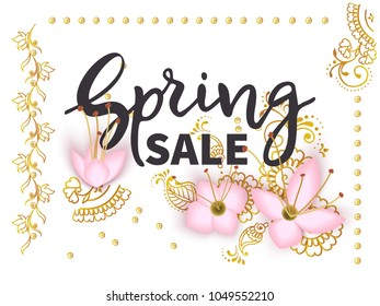 Lettering Spring Sale banner template with 3d paper pink flowers and luxurious gold patterns mehendi on white background.Vector illustration.