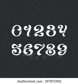 Lettering style arabic numerals. Set of figures, numbers, digits with swirl decorative elements. White for dark backgrounds.