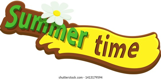 Lettering summer time on wooden background with flower.