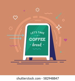 "Lettering with text ""let's take a coffee break"" on a board in hipster style. Vector illustration."
