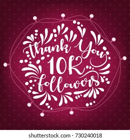 Lettering thank you design template of 20K Followers with lamp ornament. Web user celebrates a large number of subscribers or followers.