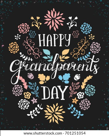 Lettering Vector Greeting Card Grandparents Day Stock Vector