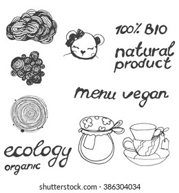 Lettering vegan menu, ecology, bio