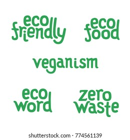 Lettering for vegan sticker - eco friendly, eco food, veganism, eco word, zero waste. Logo of zero wast