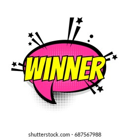 Lettering winner, win, game trophy prize boom wow. Comics book balloon. Bubble icon speech phrase. Cartoon font label tag expression. Comic text sound effects. Sounds vector illustration. Pop art.
