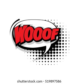 Lettering woof. Comic text sound effects pop art style vector. Sound bubble speech phrase cartoon balloon expression sounds illustration background template. Comics book balloon