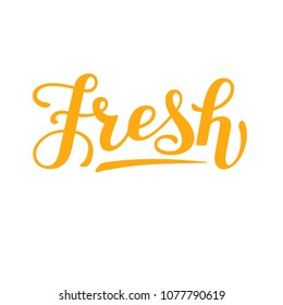 Lettering of word fresh, hand written calligraphic sign, trendy bounce style, typography for packaging design of juice, mock-tail, ice-cream, fruit water, soft drink, fruit, healthy organic food.