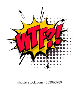 Lettering WTF. Red comic text sound effect. Vector negative bubble icon speech phrase, cartoon font label tag expression, sounds illustration. Comics book balloon.