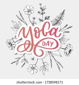 Lettering Yoga. Vector background International Yoga Day. Vector design for poster, T-shirts, bags. Yoga typography. Vector elements for labels, logos, icons, badges.
