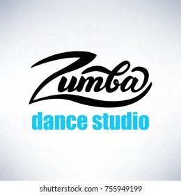 Lettering Zumba Dance Studio. Vector Illustration.