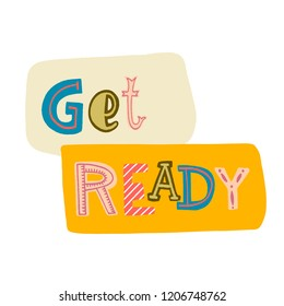 lettering-get ready with colored letters