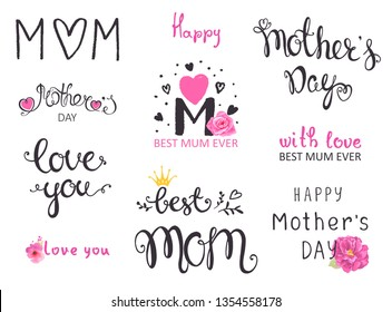 Letterings set on mothers day. Holiday romantic vector illustration with lettering and flowers roses, collection of lovely symbols for mom day. Template for your design.