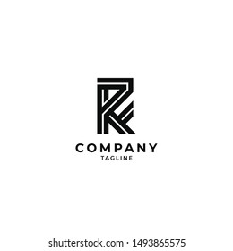 Lettermark RF FR logo icon vector illustration