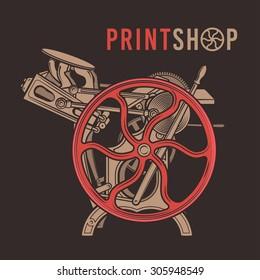 Letterpress overprint vector design. Vintage print shop logo. Old printing machine illustration