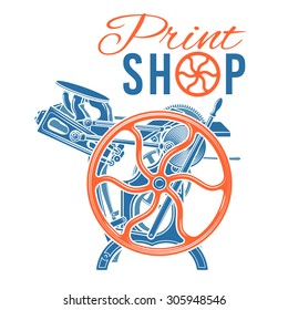 Letterpress print shop vector illustration. Vintage printing logo design. Rare industrial machine.