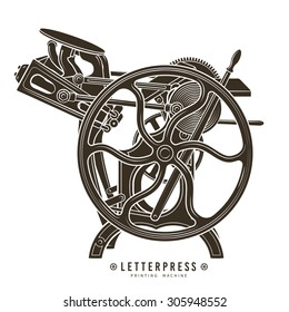 Letterpress printing machine vector illustration. Vintage print logo design